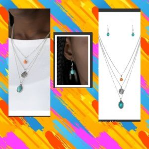 Three layered necklace set with charm and stone
